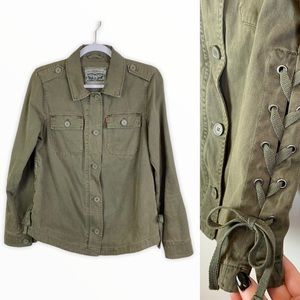 Levi's Lace Up Side Utility Shirt Jacket Green S